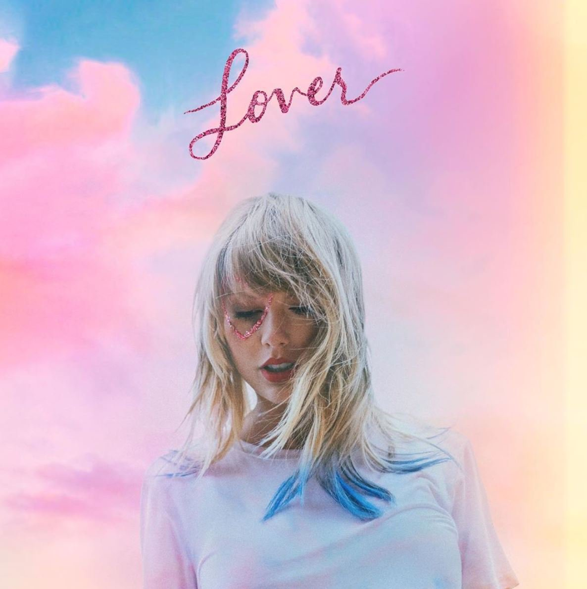 "Taylor Swift with her newest album, ""Lover."""