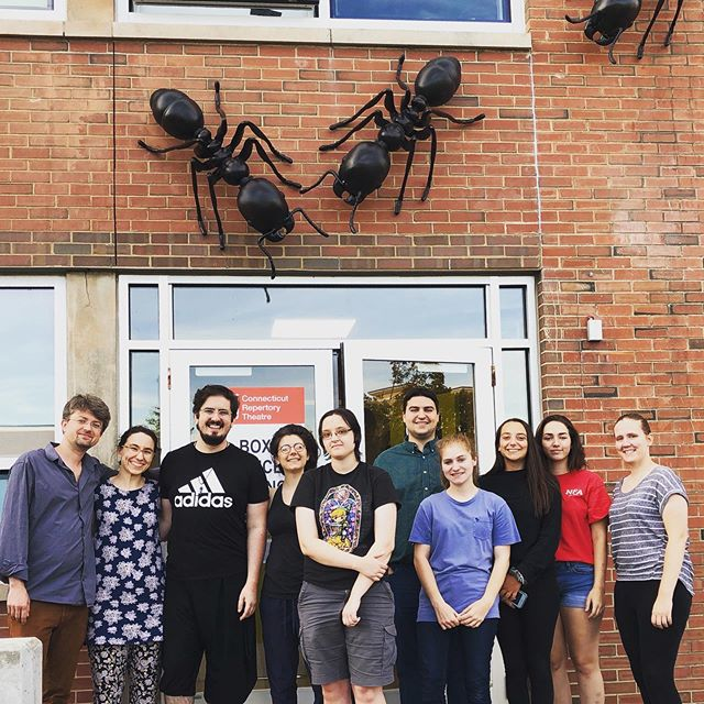 Team Colony! The cast, crew, and creative team take a moment between tech rehearsals to pose with the ants 🐜 #thecolonyshow #thecolony #artscience #performance #ants #worldpremiere
