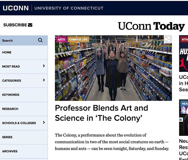 Check out the new article about the show in UConn Today! Tonight's show is sold out, with two more chances to see on Saturday at 8 and Sunday at 2. 🐜 #news #ants #thecolony #artscience #performance #worldpremiere