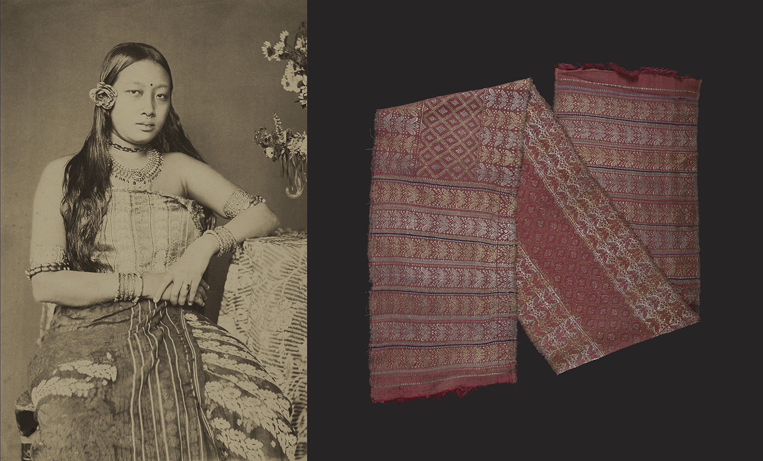 Monmohini Devi, Photographed by Bir Chandra Manikya. The young queen wears an elaborate silk Risha (right) and a fabric patterned with long, inlaid floral  butas  draped as a skirt. Platinum palladium print.  c. 1888