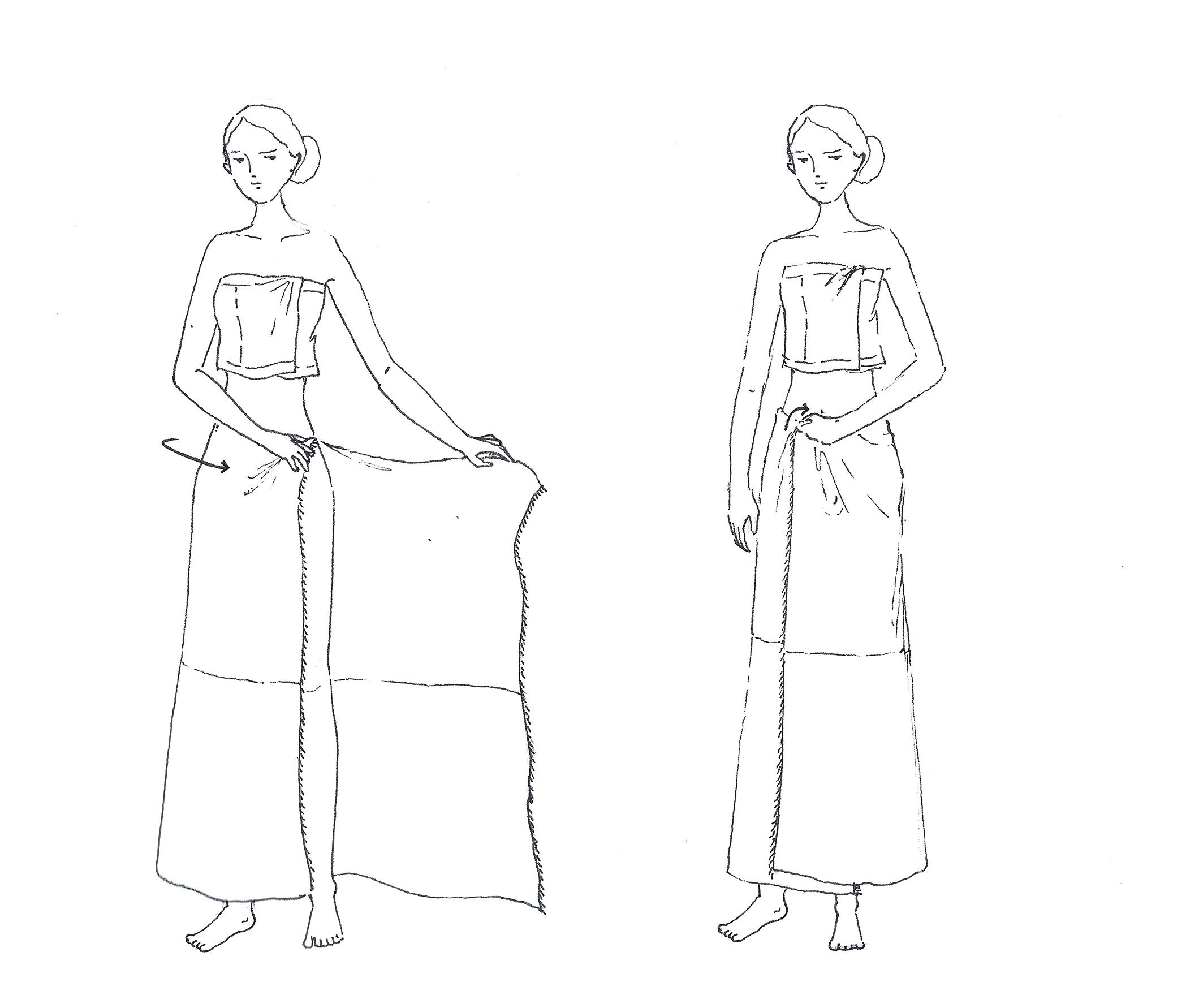 Draping of a  Rignai  (traditional wrap skirt).