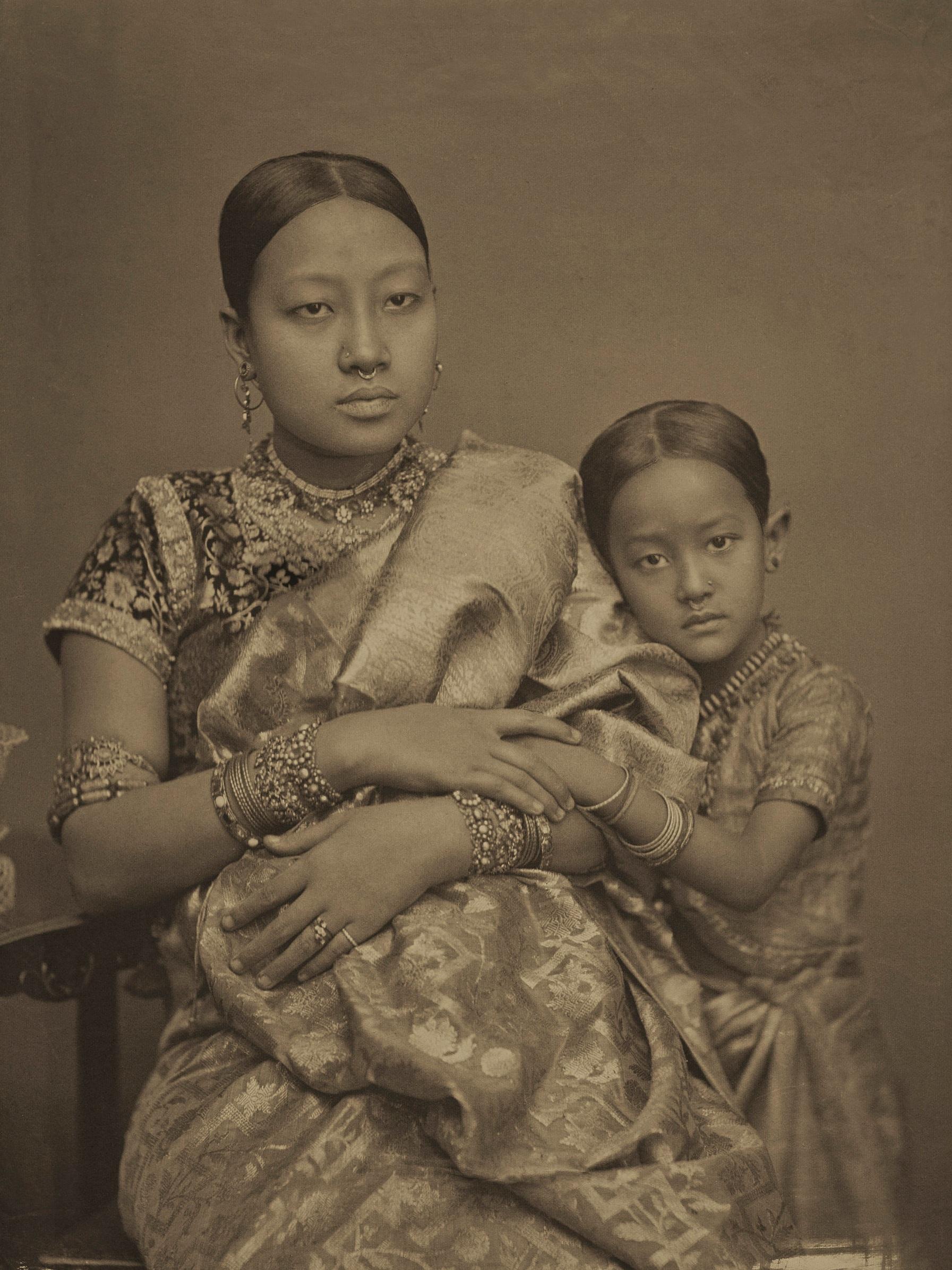 Monmohini Devi, with her third daughter, Princess Mrinalini. Photographed by Bir Chandra Manikya. Platinum palladium print.  c. 1890.