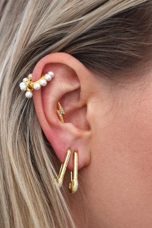 Lighting Bolt Gold Plated Stud Earrings