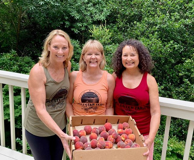 Three friends from high ( Campbell High), or earlier, enjoying our peaches in our new tanks! Thanks y'all!