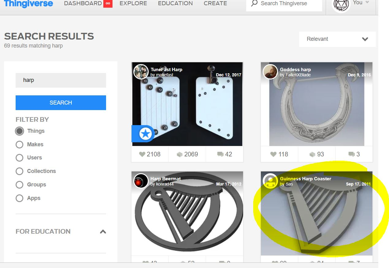 First, I found harps! - I love going to Thingiverse.com first to get ideas for things that are tricky to 3D print. So I found 3 designs that I liked. The first one on the left wouldn't work because it is flat, but I loved the shape and number of strings.