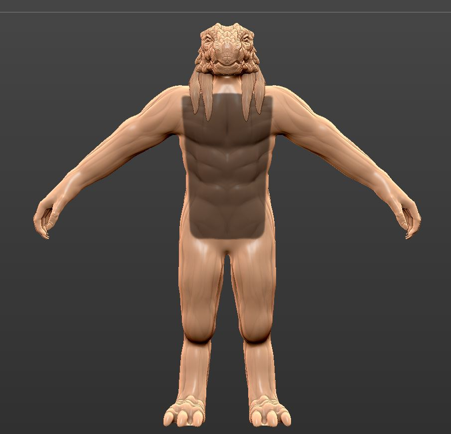 Masking - It will be a front plate of armor so I just drew a rectangle mask on his chest. A mask is just selecting an area.Mask an area by holding CTRL on your keyboard and drawing on your model. I use this technique for shirts, pants, and even hair!