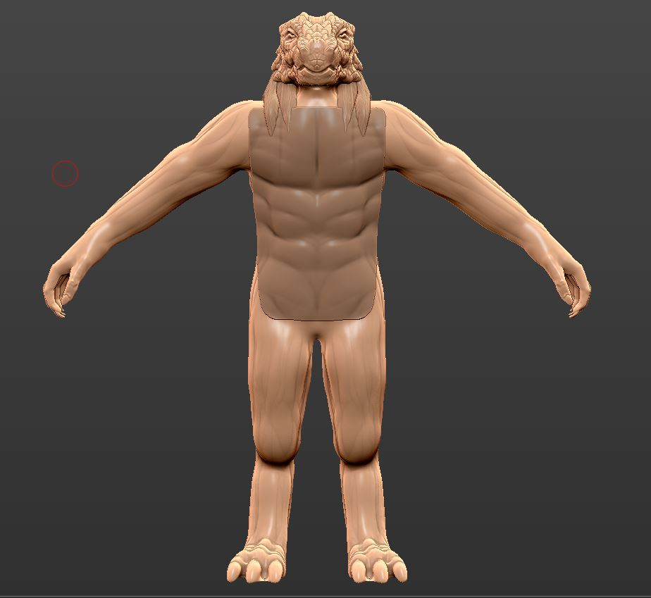 Extract is done! - Now you can see there is a little plate extruded on his chest. I don't want his muscles to show, so I will smooth that out.