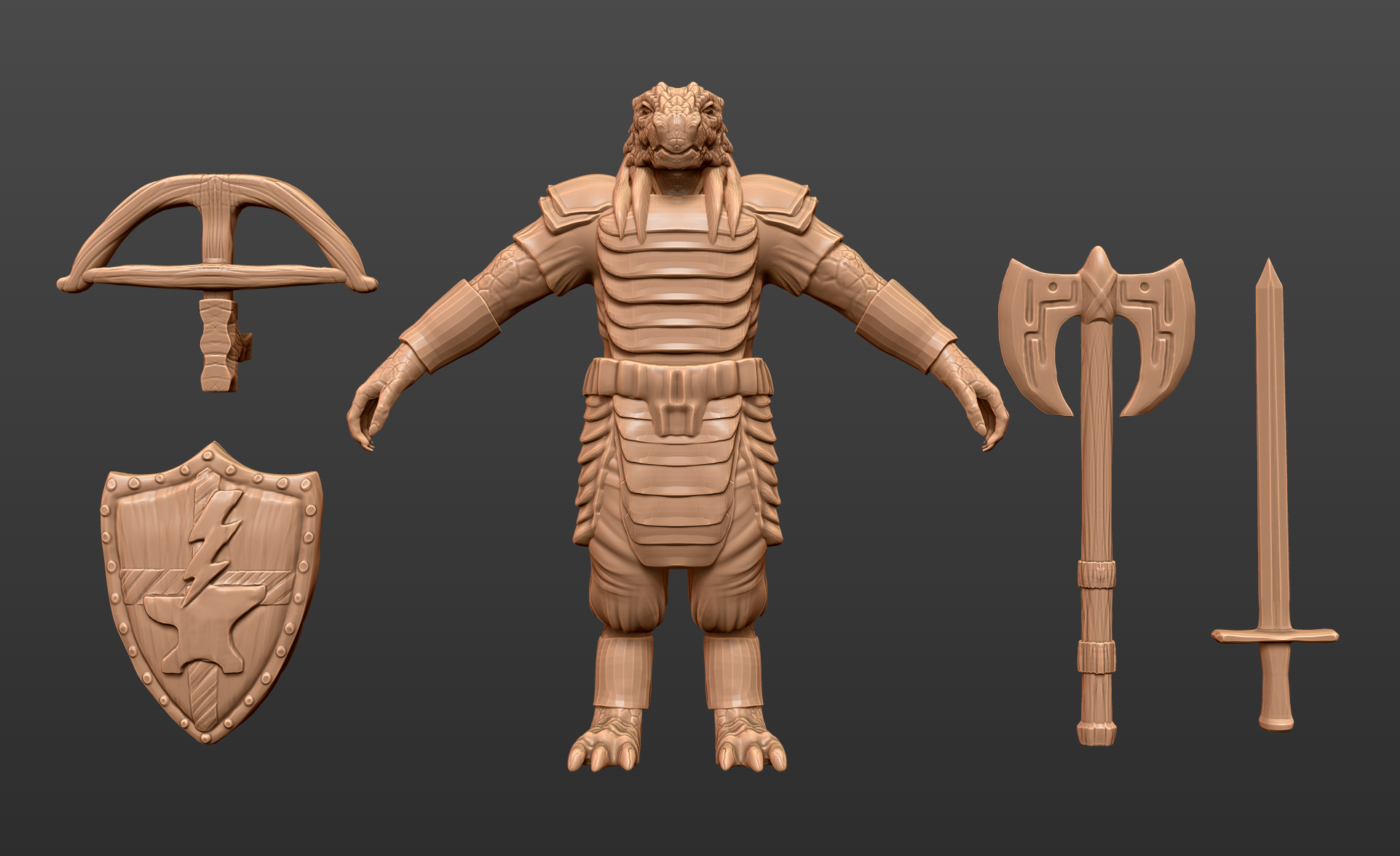 Organizing your Character - I like to make a 3D character sheet when designing my minis. The $5.50 winner did a fantastic job explaining each weapon and design, so I didn't have to fuss too much with that.