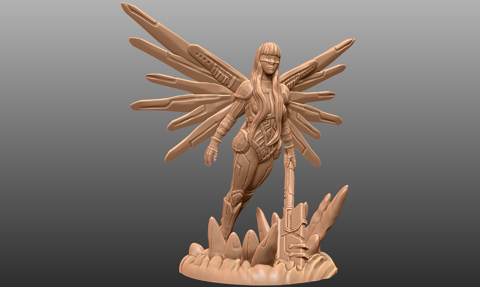 Simple and elegant. - I tried to keep the pose fairly calm here. Gives a nice confidence vibe I think. I also have the entire flat edge of the polearm sunk into the base for stability. Still going to be a tricky print! Pay extra attention the the middle three section of the wings and the thumb. Everything else won't be too bad!