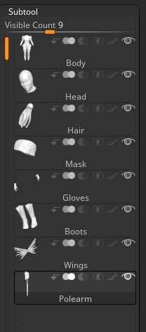 Subtool Palette - I start by organizing all my objects. The subtool palette can be found at the top of ZBrush. It is under the Tool menu.
