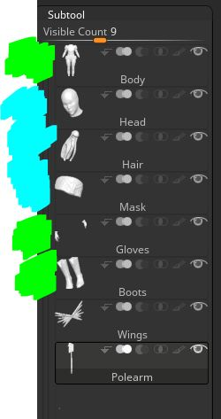 Reduce Objects - I want fewer objects to work with to simplify posing. So I combine the body, gloves and boots. As well as the head, hair, and mask. I combine these based on what I want to move together. For example, I definitely want the head and hair to move together.