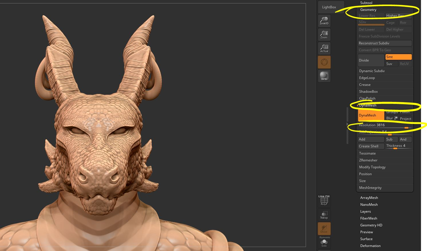 Detail! - As you can see the Dynamesh button is now orange meaning it is active. My resolution (bottom yellow circle), is also much higher!I will go over the strokes I use to detail models in the future. I wanted to go over polycount first though. Since without that you can't even begin to sculpt fine details!