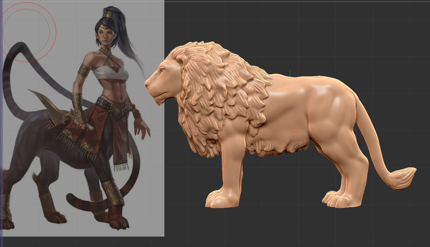 What is a Lamia? - I have a reference image on the left there. Lamia is from ancient Greek mythology. She was a woman cursed to be a child-eating monster after her children were killed by Hera. Naturally Zeus was unfaithful, and Hera was extremely upset about it and cursed Lamia. Generally she is half serpent, though I liked this half lion interpretation. Like most mythology, there is all sorts of variants out there.I imported my lion from Kickstarter as the base to work off of. Work smart, not hard!