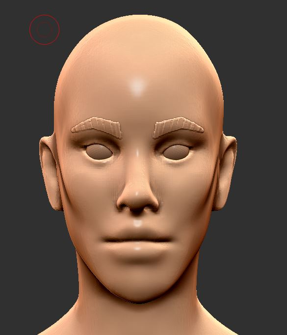 Starting the face - Horrifying, I know. This is from the Female Base Mesh provided in my ZBrush Files rewards. I put on the eye brows and eyes. Other than that, this is how it starts.