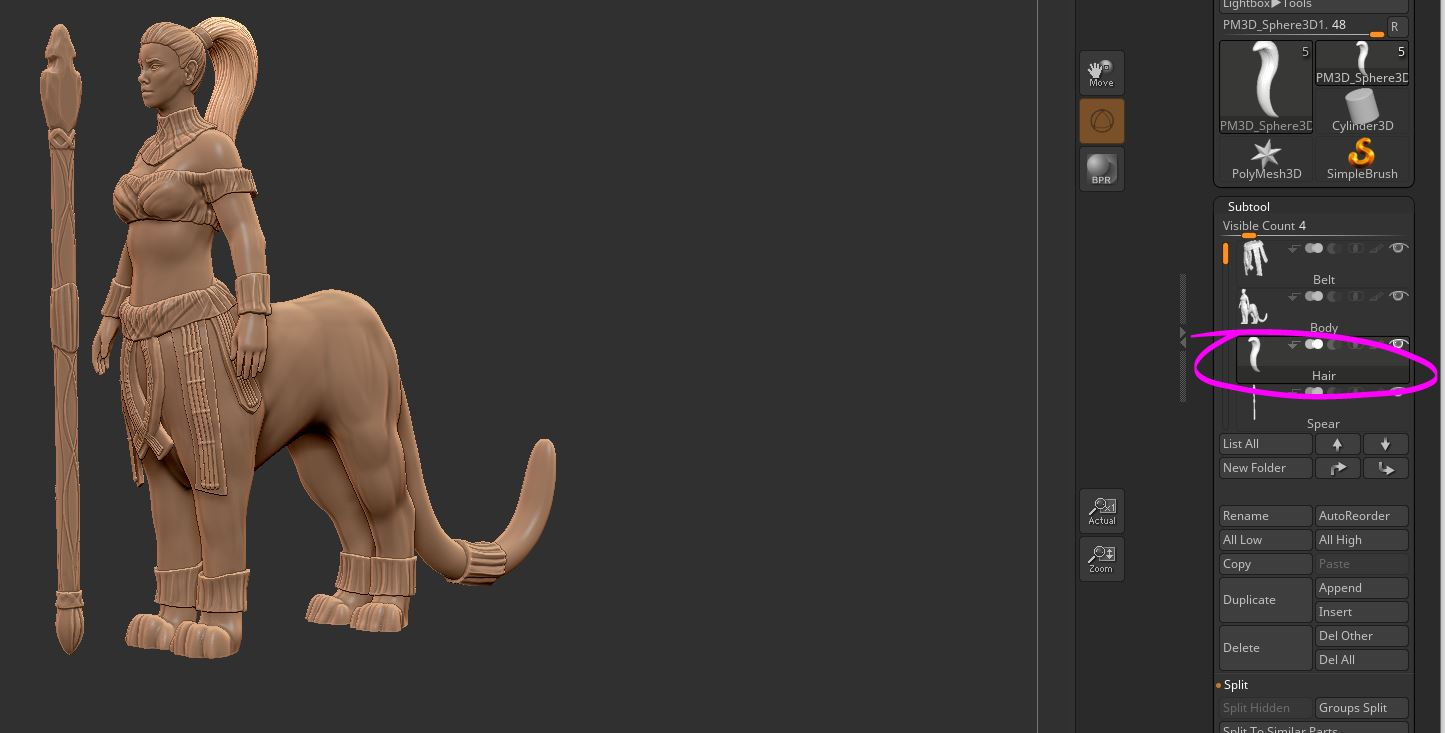 Organizing the Model - I split the model into the body, belt, and spear. That is all pretty intuitive. However, I also keep the hair separate! The pony tail will be much easier to move if it is a separate object. Otherwise I might accidentally deform the back trying to style the hair.