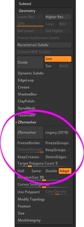 Remesher - I love using this functionality. Go to the Subtool palette, then Geometry. Farther down you will see ZRemesher. This nifty function takes your mesh and greatly reduces your polycount and usually creates better topology.