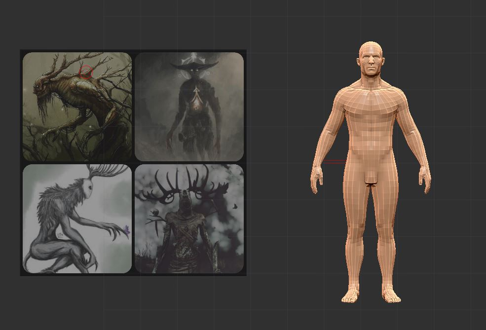 Concept Stage - I made a collage of google images and inserted it into ZBrush. I made a really simple video about how to do insert references images on my YouTube channel. You can check it out here.I liked the idea of this monster being somewhat on the gentle side, but definitely dangerous.