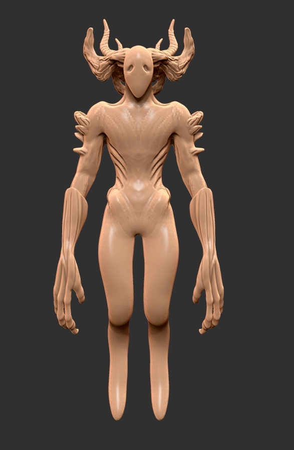Refine - I start to refine the general shape. The arms in particular I wanted to stand out so I give them a lot of detail.