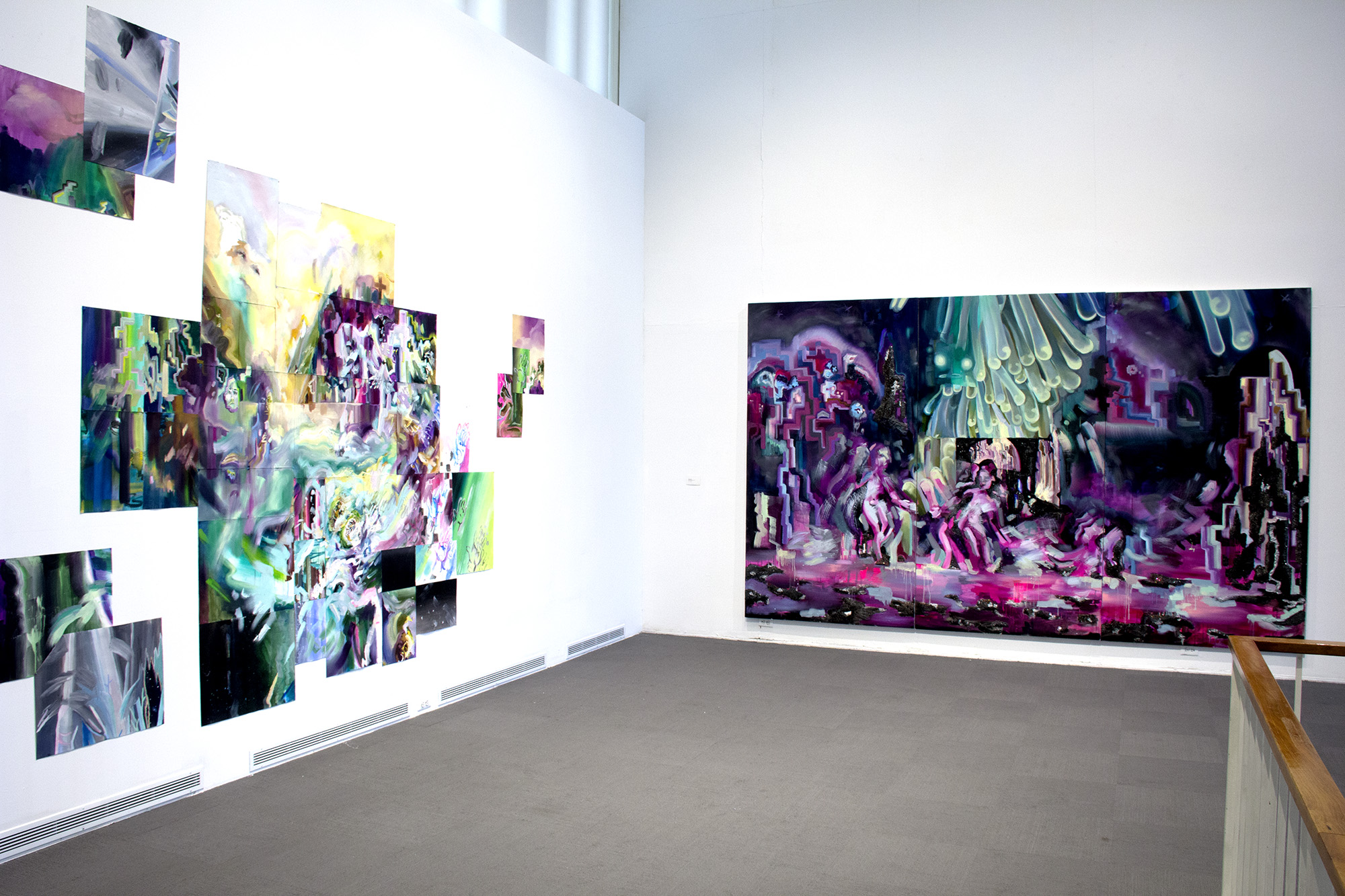 "Installation image of ""Court of Conscious (drowning man)"" on the left and ""Toward Symbiosis"" on the the right.  MFA thesis exhibition, University Art Museum at State University of New York at Albany, 2017"