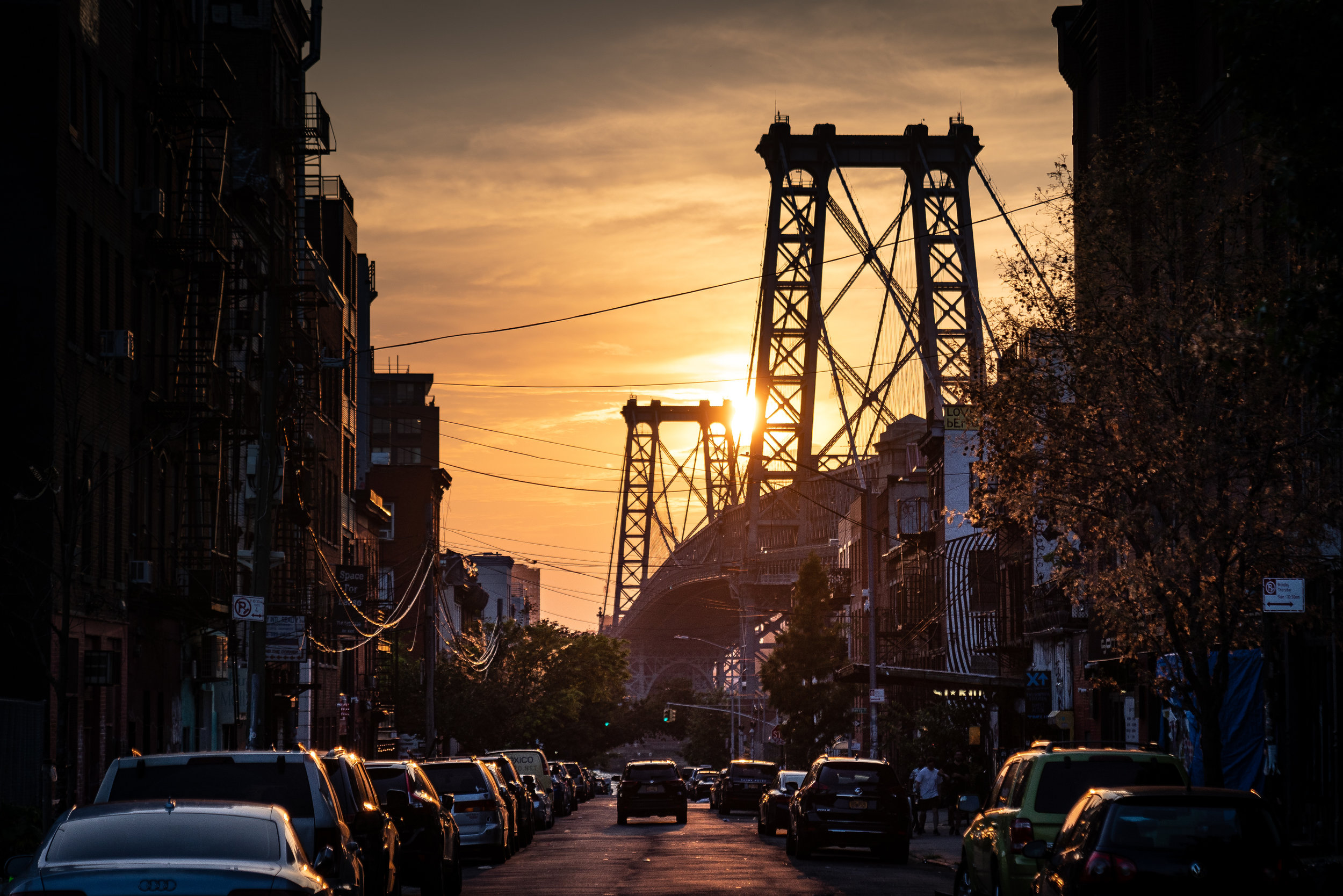 Williamsburg Bridge at sunset seen from S 6th St.