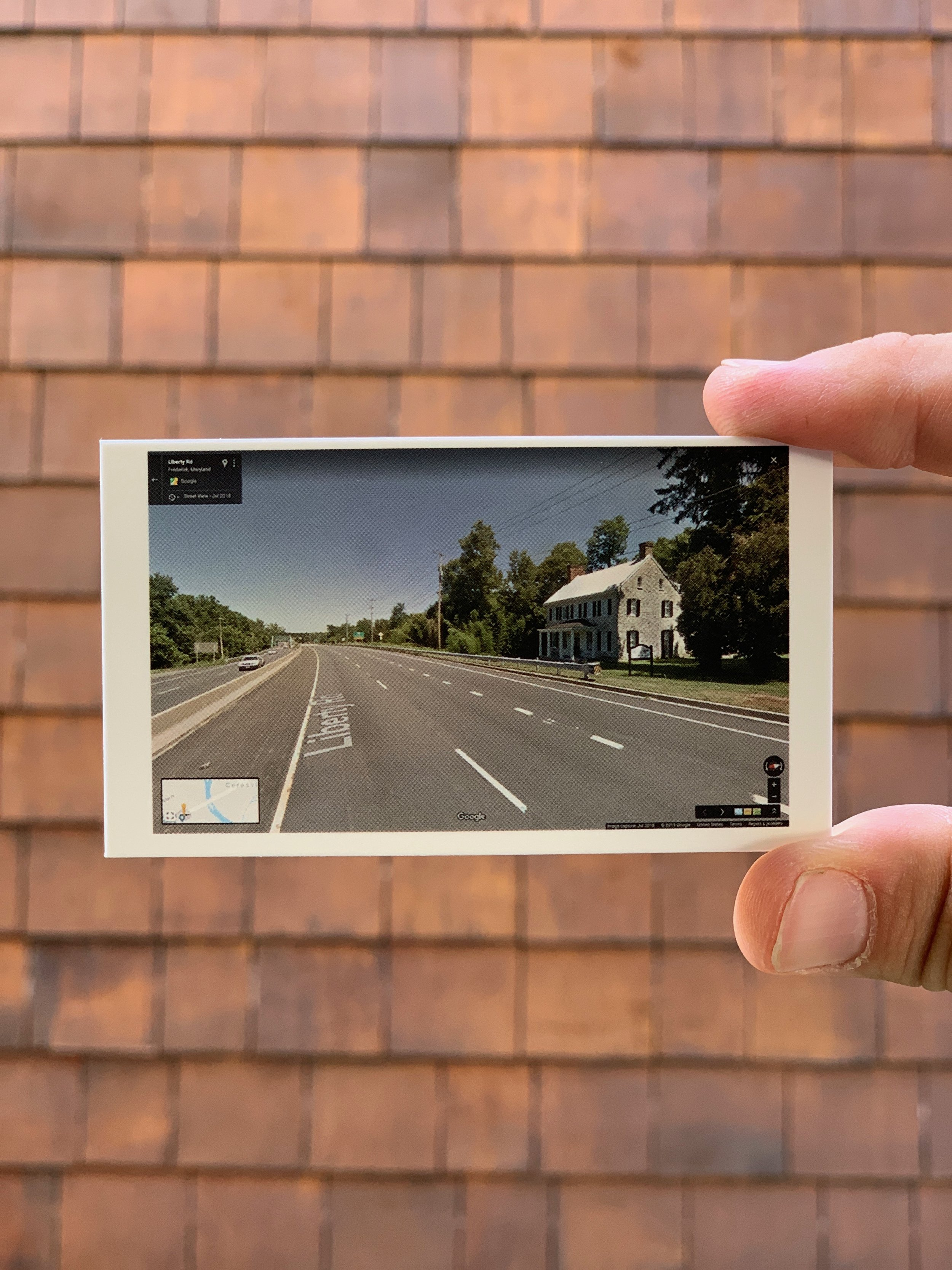 Business Card reverse with 50 different Google street views along Liberty Road