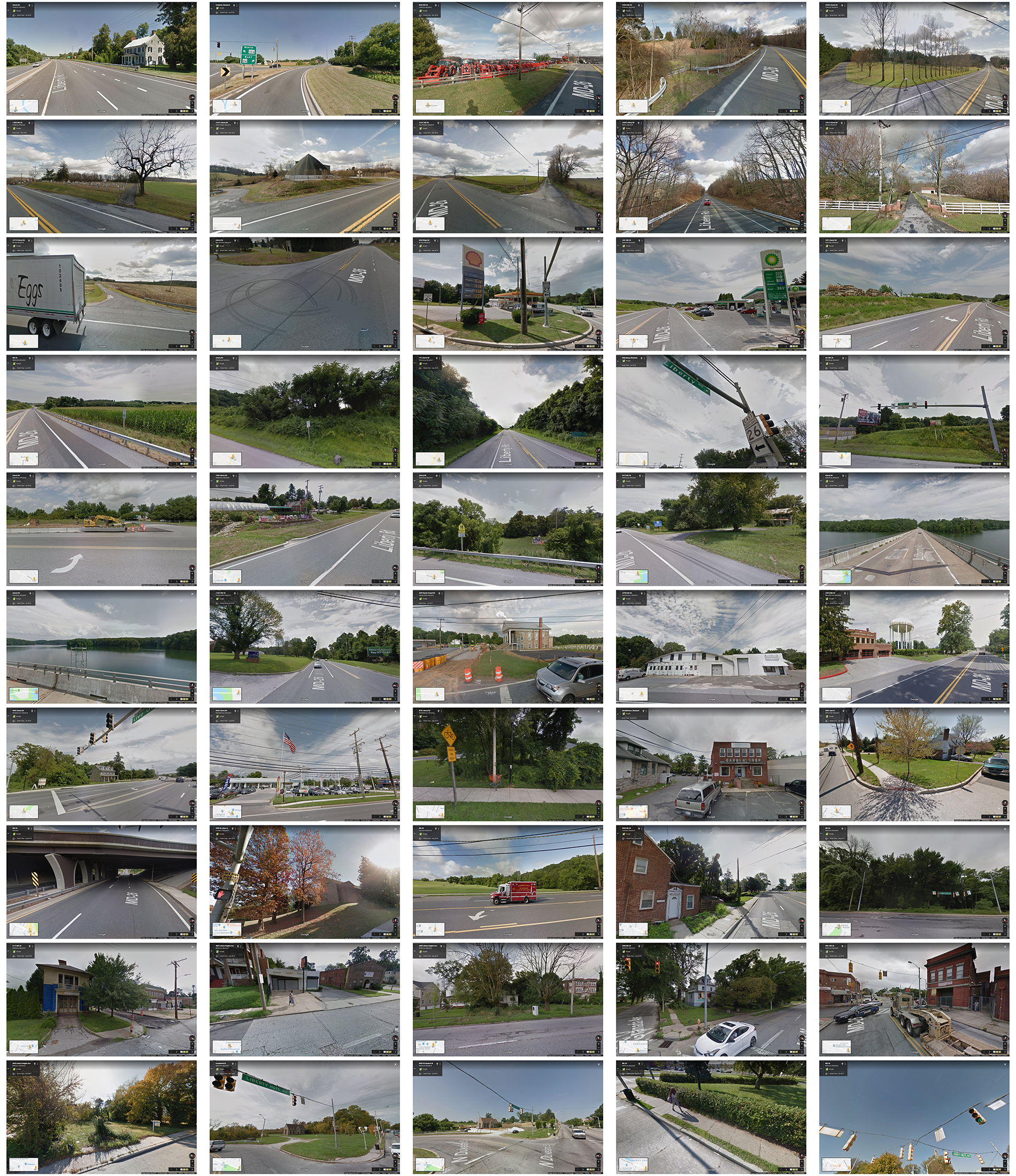 50 different Google street views along Liberty Road as business card reverse