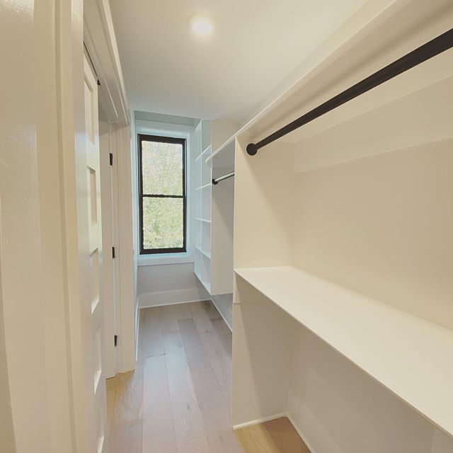 We hear loud & clear that most DC home buyers NEED MORE CLOSET SPACE!  So we got creative.  This master closet, in our soon-to-be listed rehab at 1305 Independence Ave. SE, is a great example. We enclosed a window, bumped out the wall and Voila! a well lit, walk-in closet on Capitol Hill! . . . . . #dcrealestate #dcrealtor #walkincloset #homerenovation
