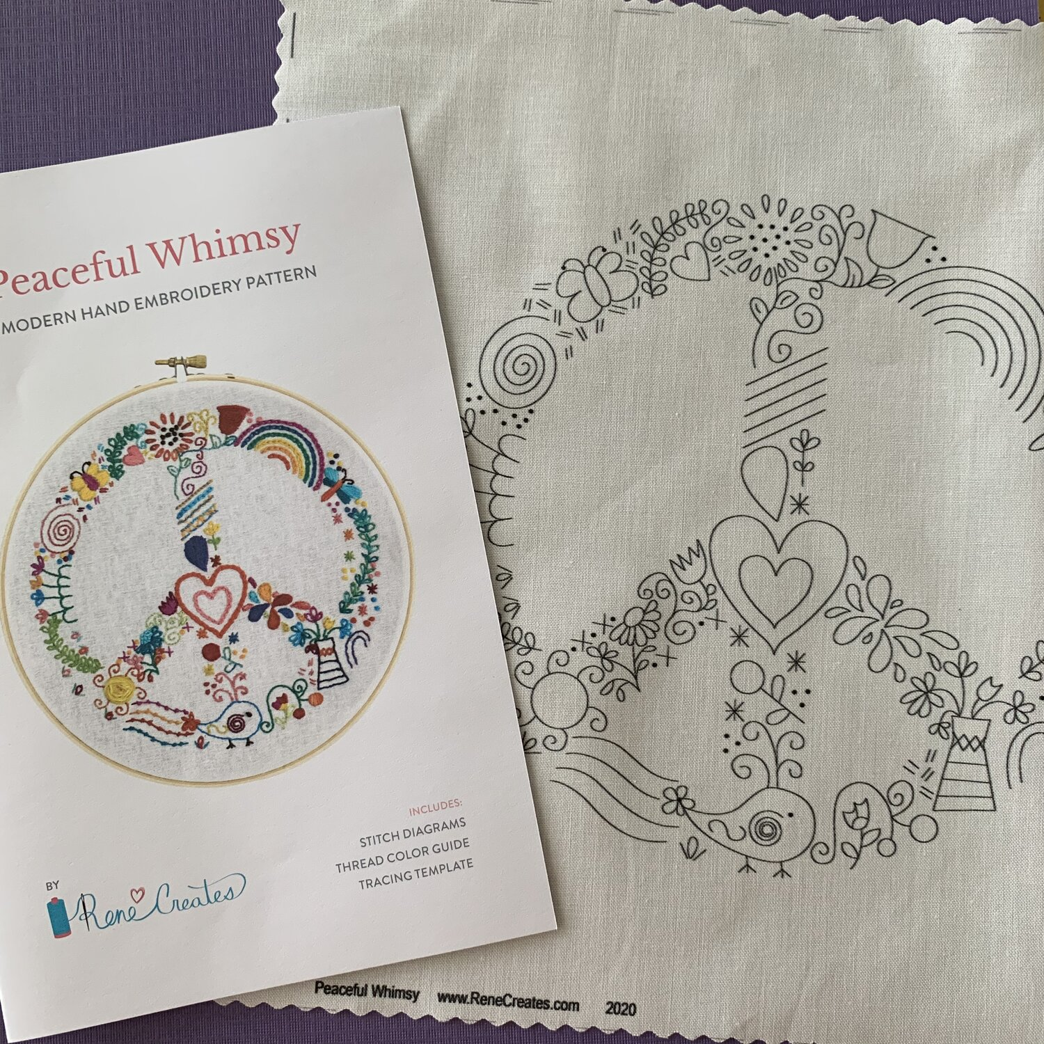 Peaceful Whimsy Embroidery Pattern And Printed Fabric Panel The Craft Table