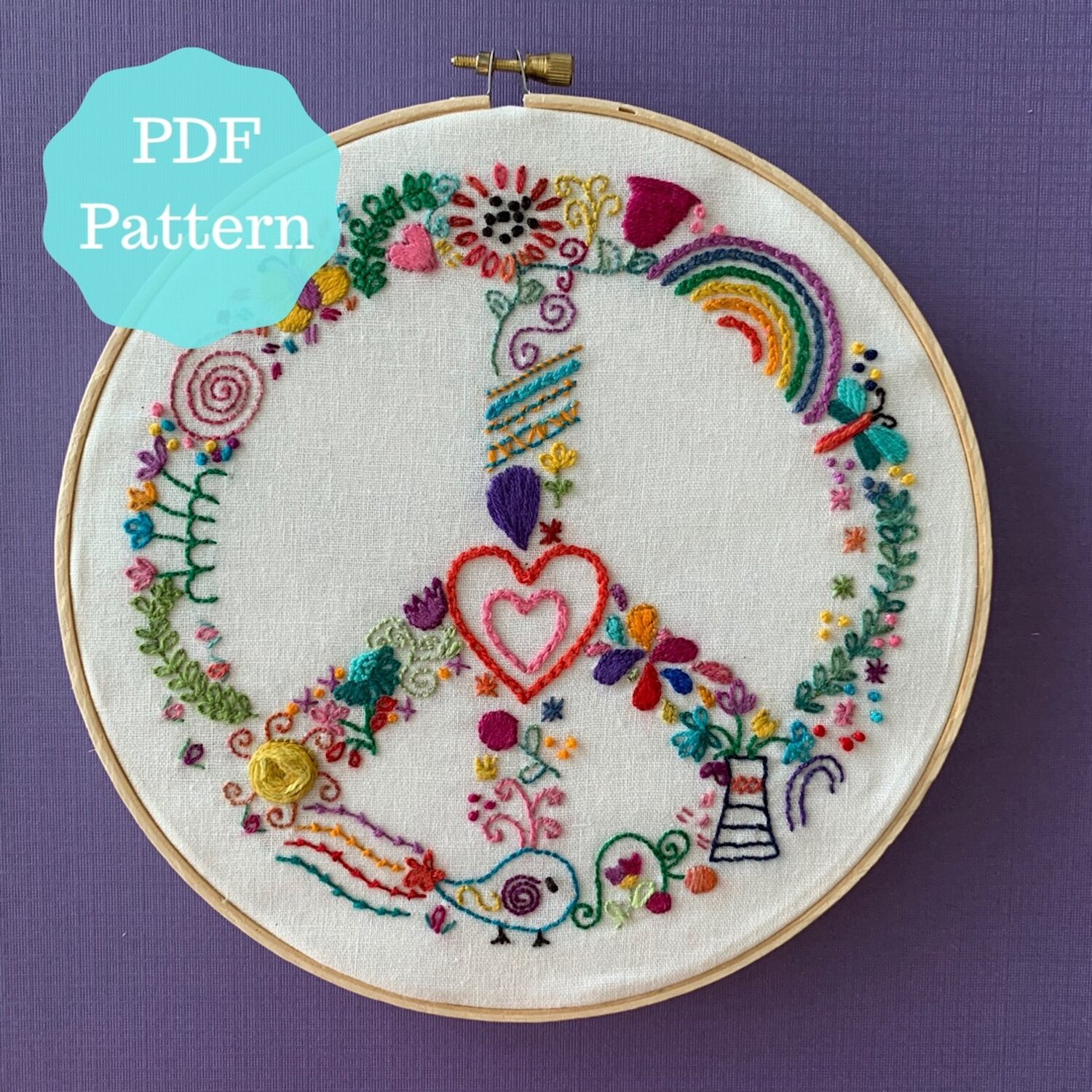 PDF pattern Peaceful Whimsy hand embroidery pattern — The Craft Table