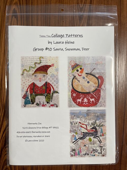 Laura Heine-Fiberworks Group 10 SNOWMAN /& DEER    Teeny Tiny  Collage Pattern  By SANTA