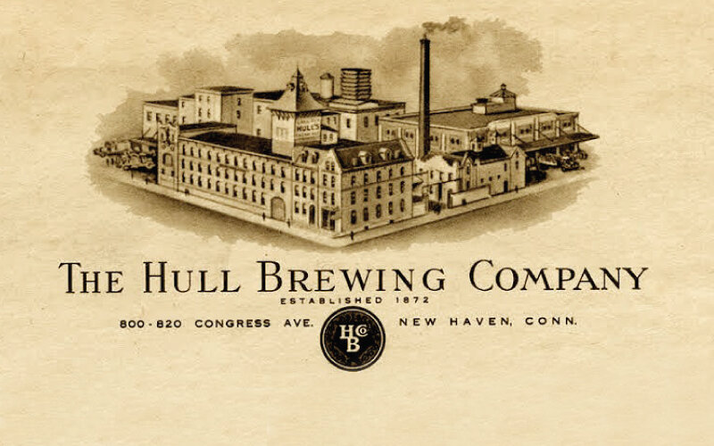 """- The Hull Brewing Company was established in New Haven, Connecticut in 1872 by Colonel William Hull. Shortly after it opened it was affectionately referred to as """"Hull's"""". Brewing was nonstop at The Hull Brewing Company until prohibition hit in 1920. From 1920 To 1933, while most local breweries shut down, Hull's stayed in business by producing ice and non-alcoholic malt beverages. Shortly after the repeal of prohibition in 1933, The Hull Brewing Company moved its operations to The Old Fresenius Brewery, located at 820 Congress Avenue, where it thrived. In it's new location it ultimately became, to this day, Connecticut's largest brewery. Hull's was definitively Connecticut's beer, however, mainly due to pressures from national beer brands penetrating the State, after 105 years it closed in 1977. In January of 2018 a young, 36 at the time, life-long resident of New Haven revived Hull's."""