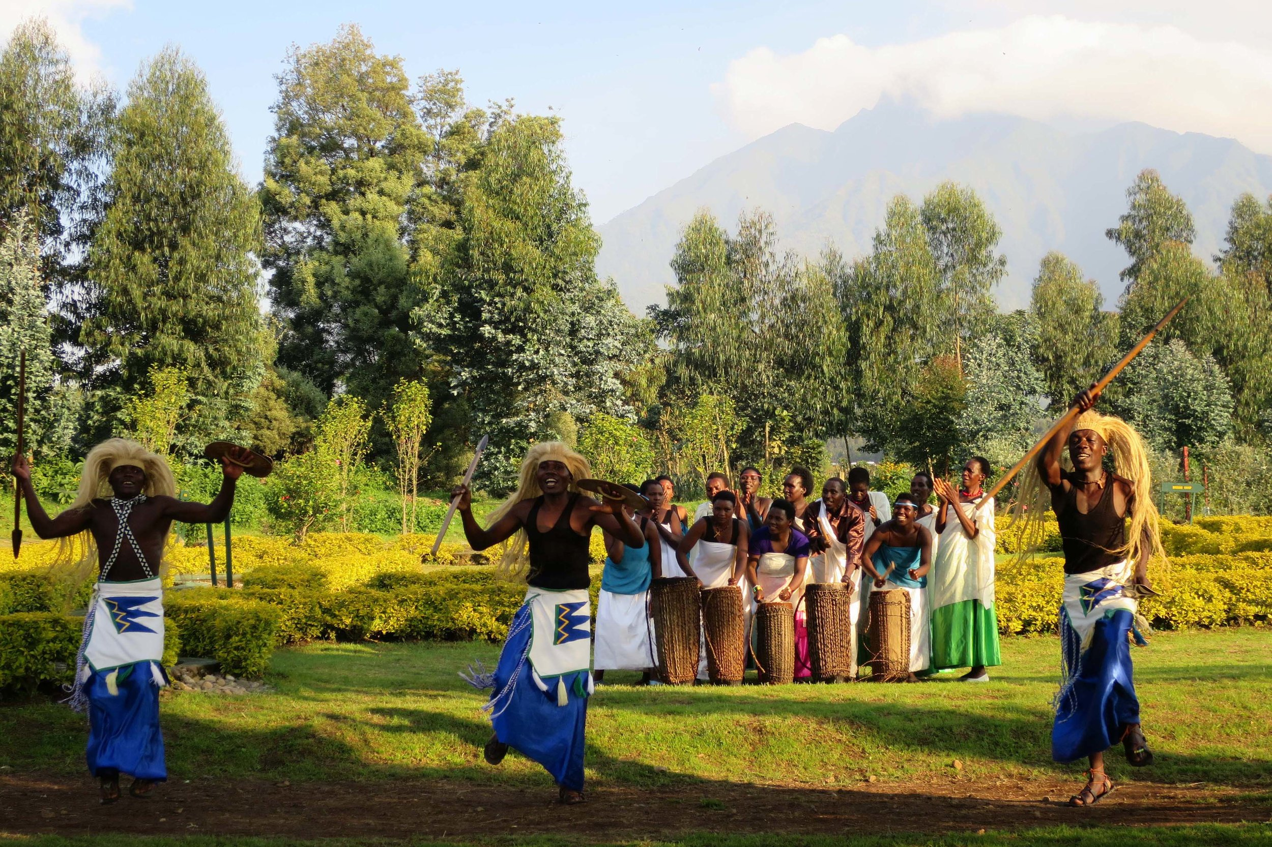 A traditional performance is put on for trekkers at the ranger station in Rwanda each morning © Sarah Reid
