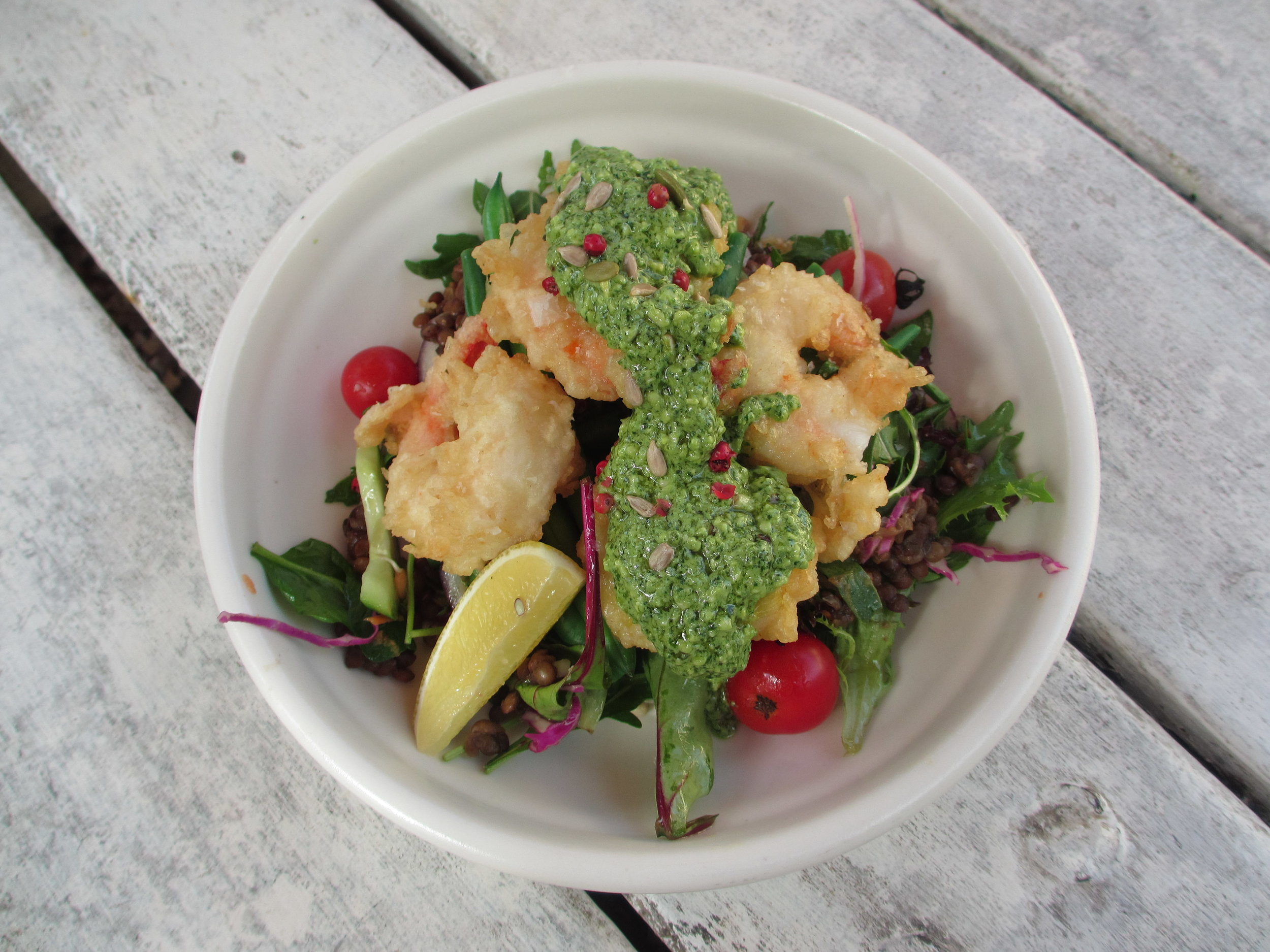 The tempura prawn salad at Doma is well worth the drive to Federal © Sarah Reid