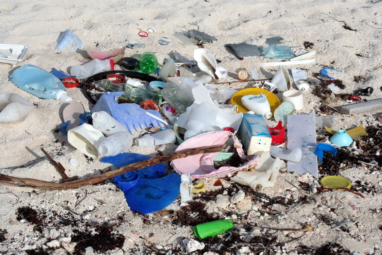Plastic debris lines a beach just beyond a tourist hotel zone in Mexico's Mayan Riveria Image by John Schneider flikr