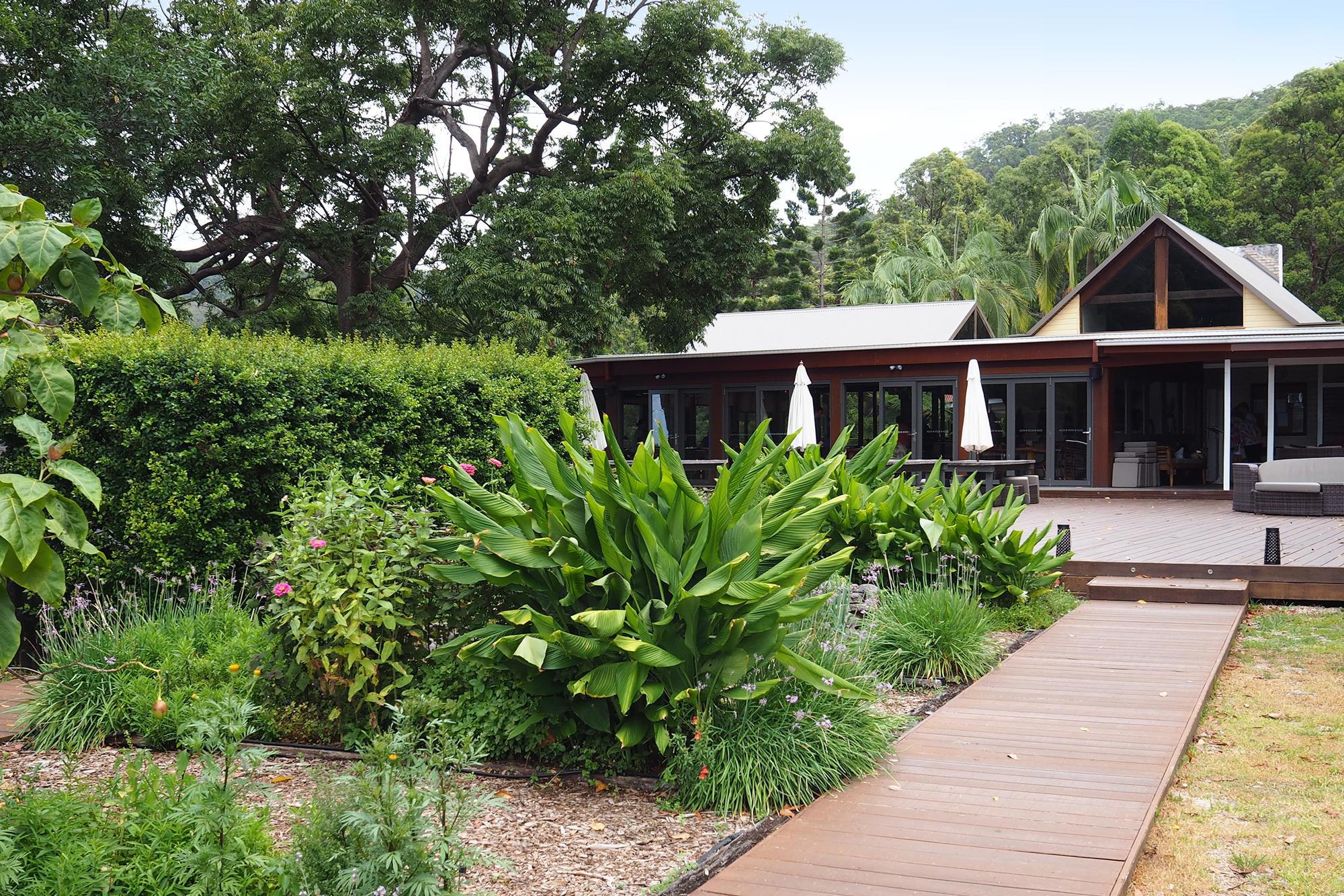An edible garden flanks the entrance to Gwinganna's dining room © Sarah Reid