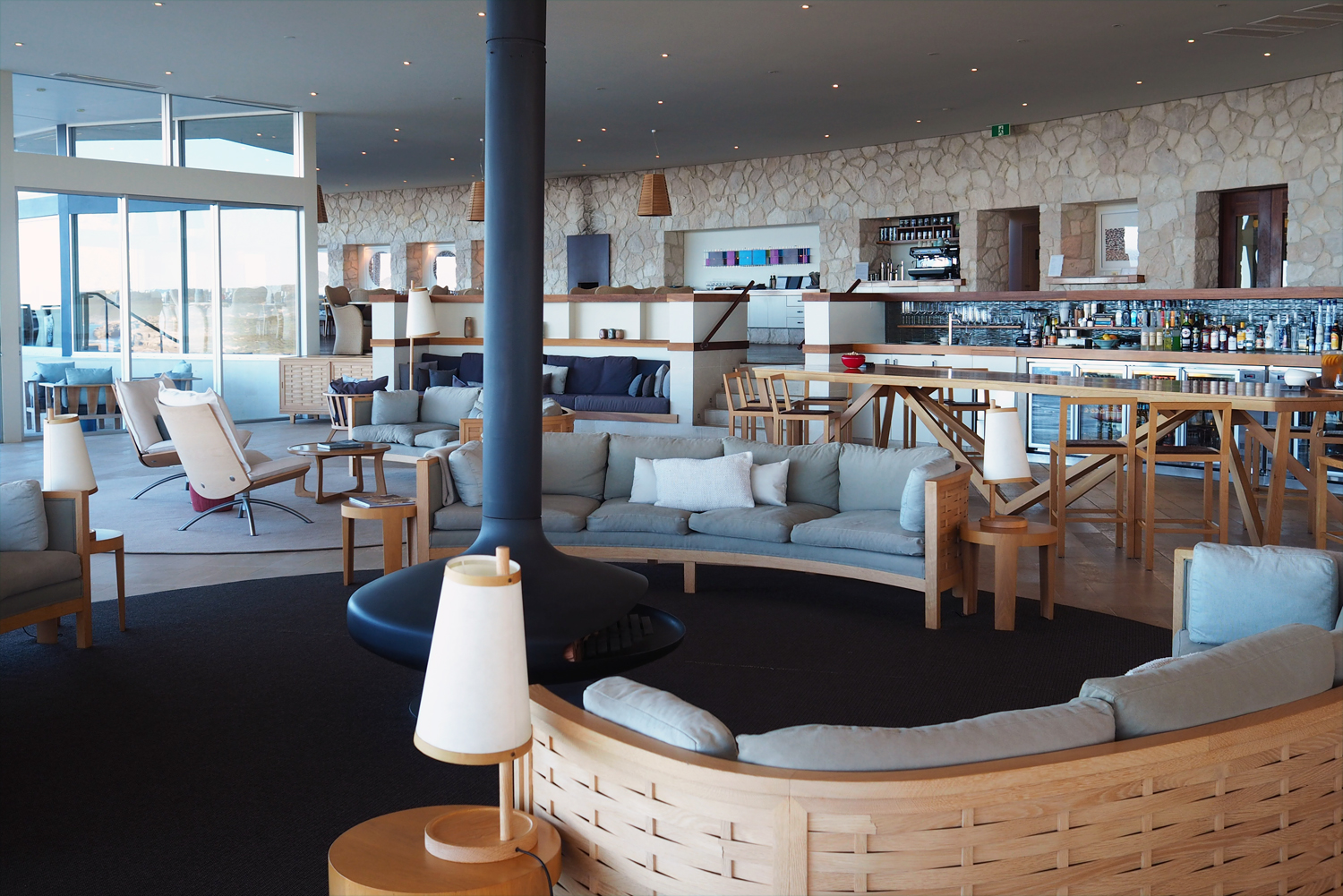 The main lounge and bar area has a minimalist Scandi feel to it © Sarah Reid