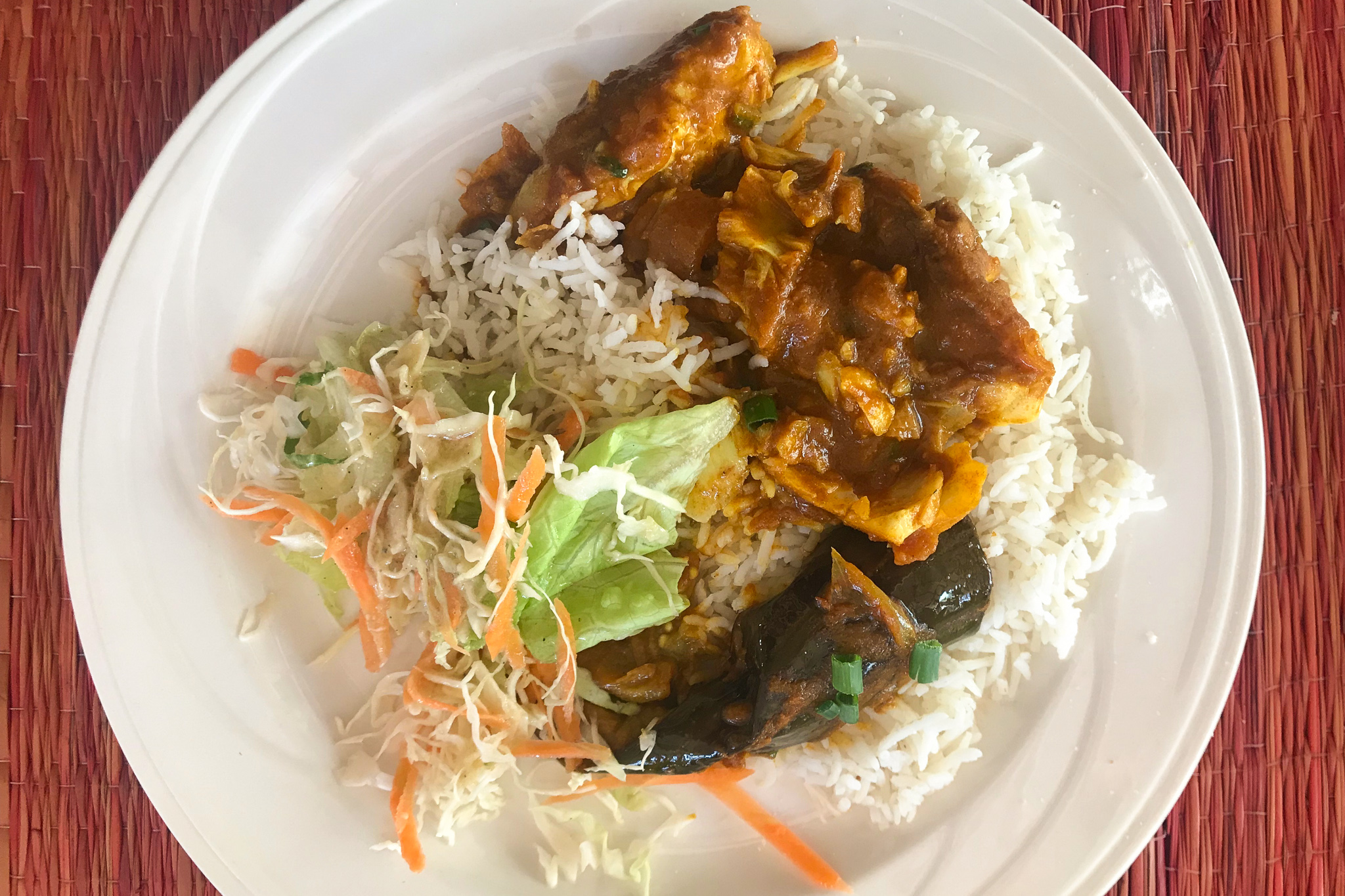 My first fish and aubergine curry on the island at Chez Rosy © Sarah Reid