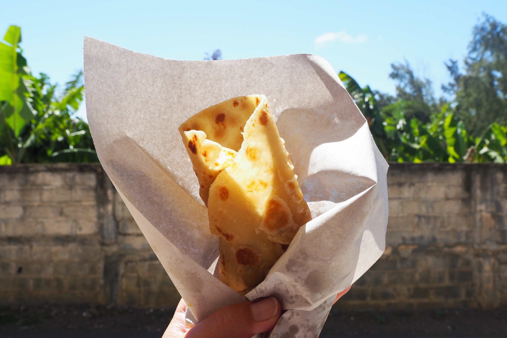 This street stall roti, stuffed with a spicy veg sauce, was life-changing © Sarah Reid