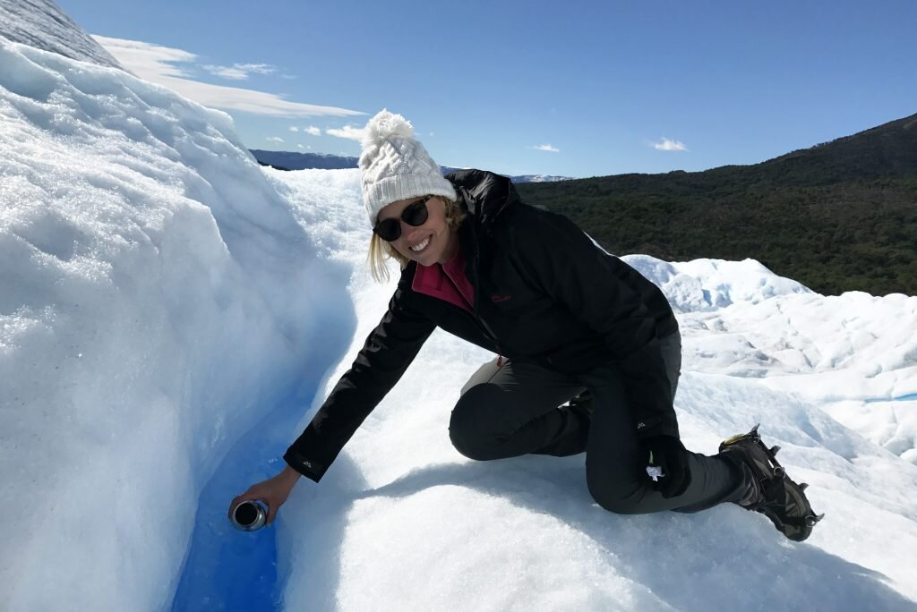 Just refilling my water bottle from a glacier in my sustainable Kathmandu threads, as you do © Sarah Reid