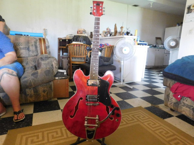 Kit guitar built 2018, Gibson ES customized copy with Bigsby tremolo, cherry red stain with smoke accents