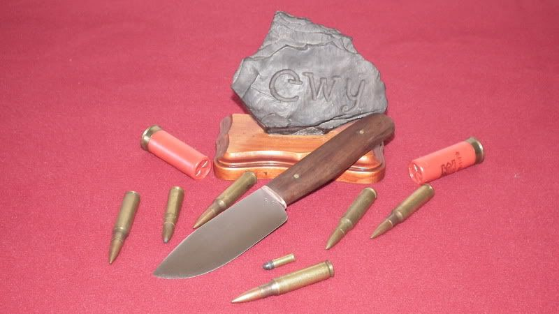 Hunting knife with tiger wood handle