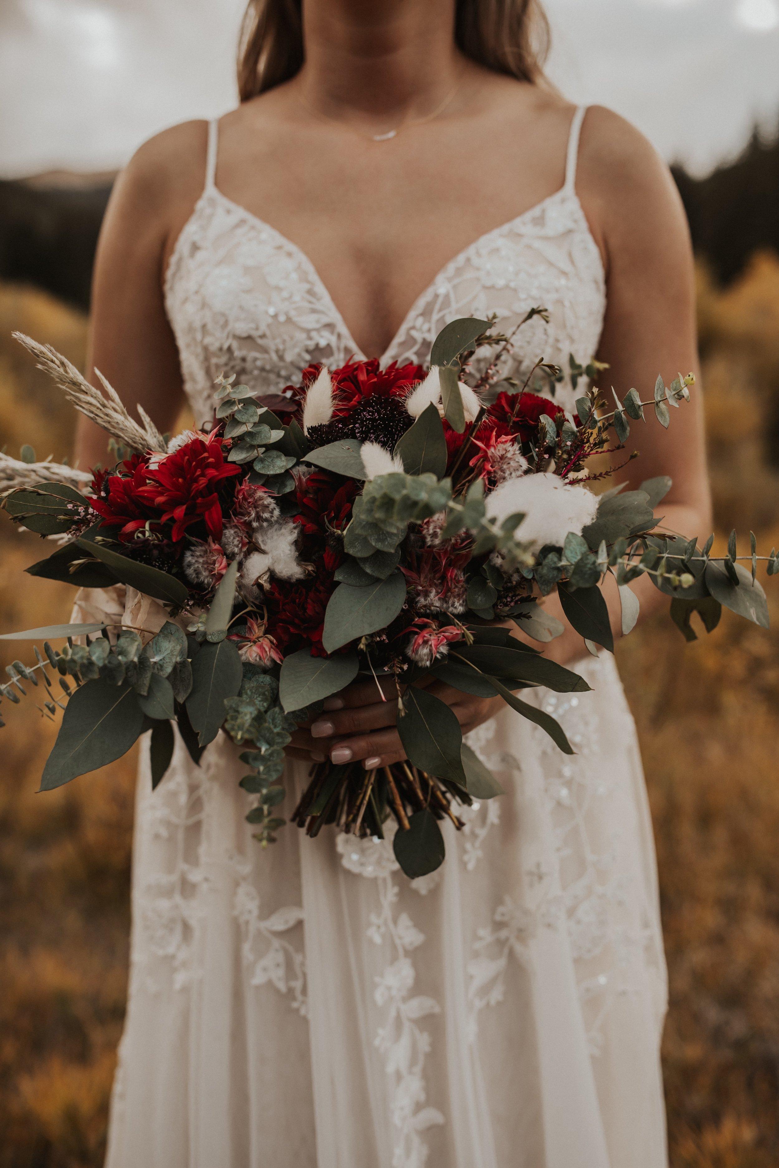 beautiful bohemian bride with unique custom intentional bouquet by elizabeth mckenzie florals.jpg