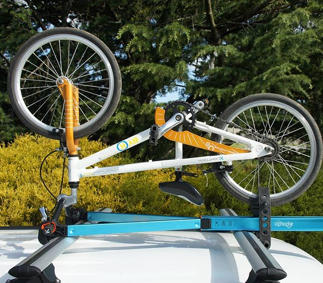 Get the youngsters bikes to the track or on holidays with Upside rack. Adjusts to fit bikes small and large.