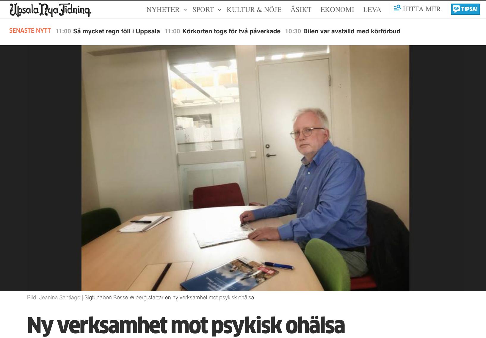Artikel om Bosse Wiberg i Upsala Nya Tidning 190717