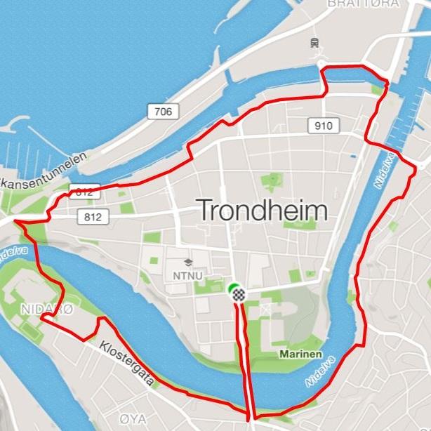 Rundt midtbyen - Distanse: 6,5 kmUnderlag: Grus og asfaltTerreng: Flatt