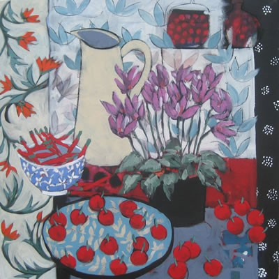 Cyclamen and Cherries - Sold