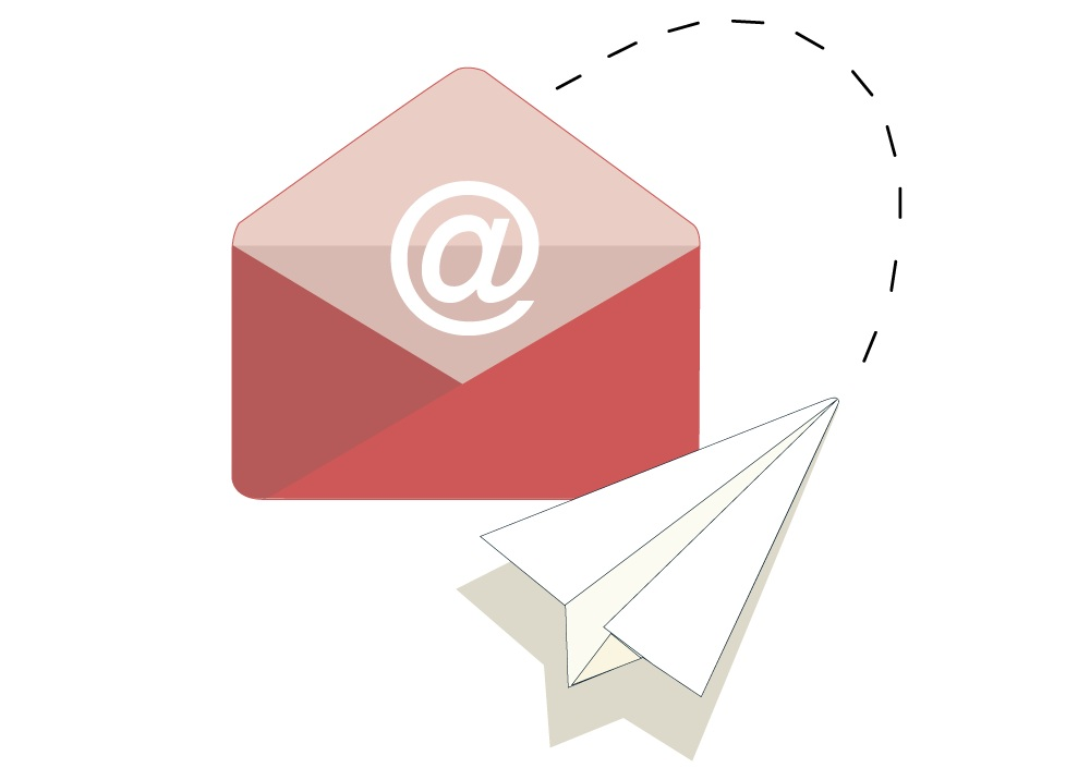A paper airplane is flying into an envelope with an @ symbol on it.
