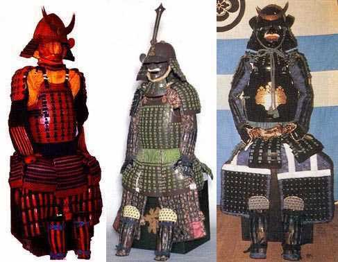 Three armours of the late 16th century. All are  ni-mai dō  (clamshell armours).