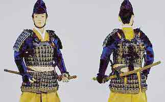 """This  bushi  wears a  mōgami haramaki.  Note the  sei-ita  (""""coward's plate"""") covering the back. Image from the   Kyoto Costume Museum"""