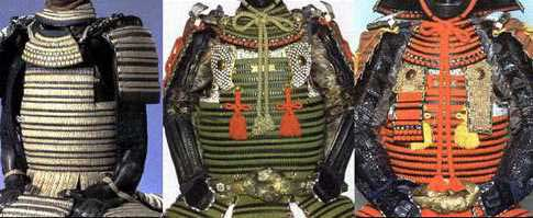 A  maru dō  and two  marudō -based  ni-mai dō.  On the left is a true  maru dō  ( kozane  construction). In the middle is a clamshell of  kiritsuke zane  construction. On the right is a clamshell of plain, solid lames laced in  kebiki odoshi.